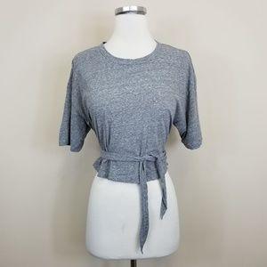 A.L.C. Vita Gray Tie Waist Short Sleeve Tee S